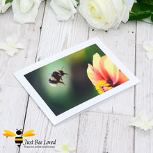 Load image into Gallery viewer, Flying Bumblebee Blank Photographic Greeting Card by Landscape & Nature Photographer Yasmin Flemming