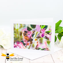 Load image into Gallery viewer, Honey bee foraging in a field of wild flowers Photographic Blank Greeting Card image by Landscape & Nature Photographer Yasmin Flemming