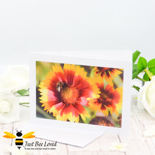Load image into Gallery viewer, Honey bee Foraging Photographic Blank Greeting Card image by Landscape & Nature Photographer Yasmin Flemming