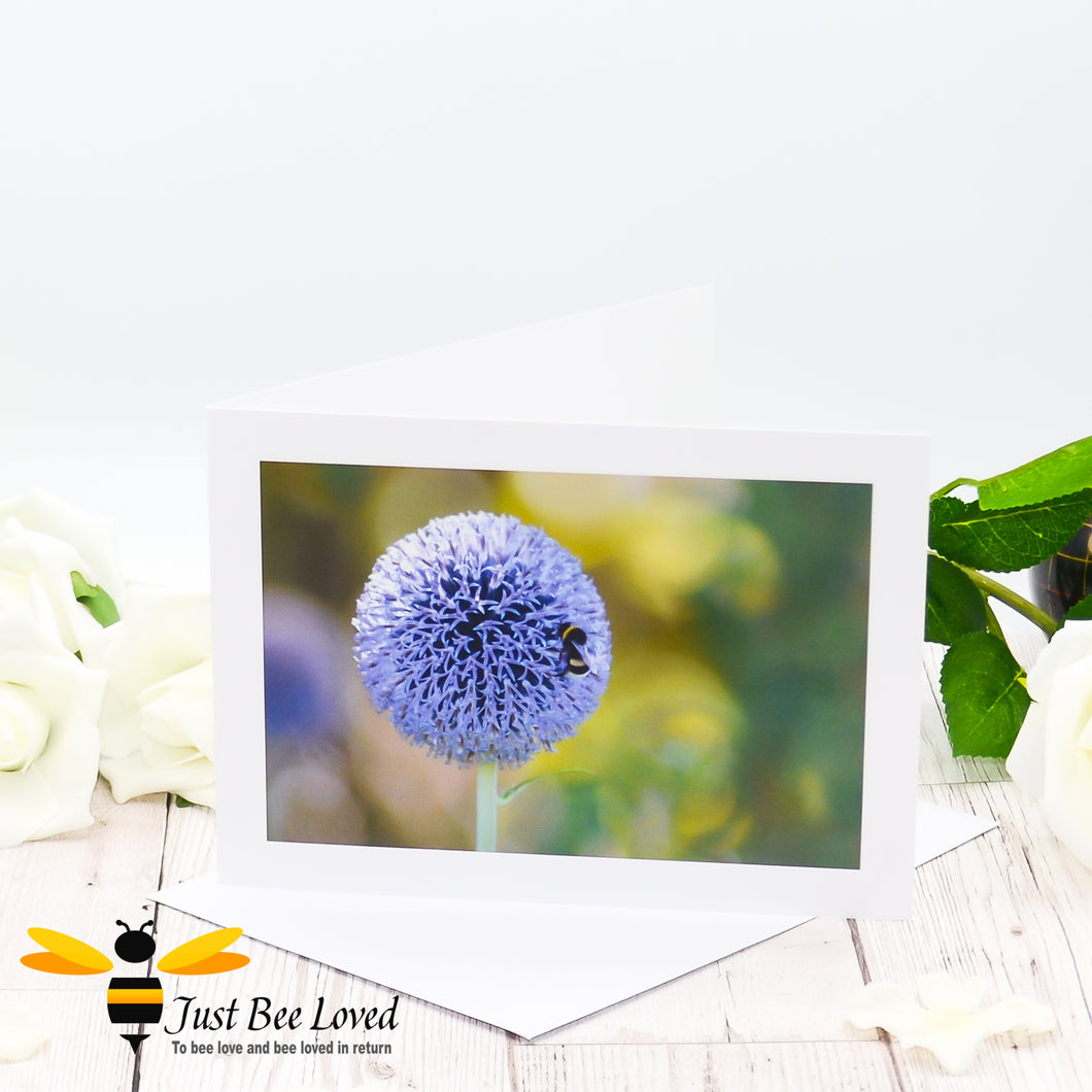 Bumblebee and Globe Thistle Photographic Blank Greeting Card image by Landscape & Nature Photographer Yasmin Flemming
