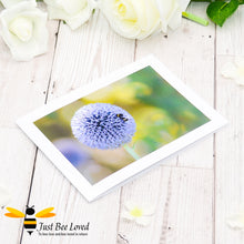 Load image into Gallery viewer, Bumblebee and Globe Thistle Photographic Blank Greeting Card image by Landscape & Nature Photographer Yasmin Flemming