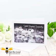 Load image into Gallery viewer, Bumblebees With Deepest Sympathy Photographic Greeting Card by Landscape & Nature Photographer Yasmin Flemming