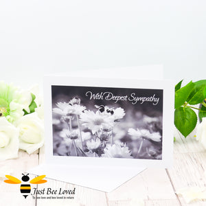 Bumblebees With Deepest Sympathy Photographic Greeting Card by Landscape & Nature Photographer Yasmin Flemming