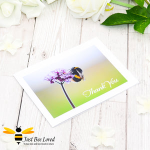 Just Bee Loved Bee & Verbena Portrait - Thank You Photographic Greeting Card by Landscape & Nature Photographer Yasmin Flemming