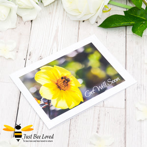 Bumblebee and Dahlia Get Well Soon Photographic Greeting Card by Landscape & Nature Photographer Yasmin Flemming