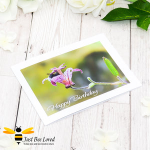 Bumblebee inside Flower Cup Birthday photographic Greeting Card by Landscape & Nature Photographer Yasmin Flemming