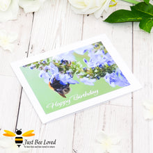 Load image into Gallery viewer, Bumblebee Foraging Happy Birthday Photographic Greeting Card by Landscape & Nature Photographer Yasmin Flemming
