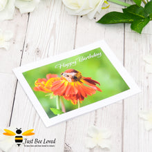 Load image into Gallery viewer, Honey bee Foraging Birthday Photographic Greeting Card by Landscape & Nature Photographer Yasmin Flemming