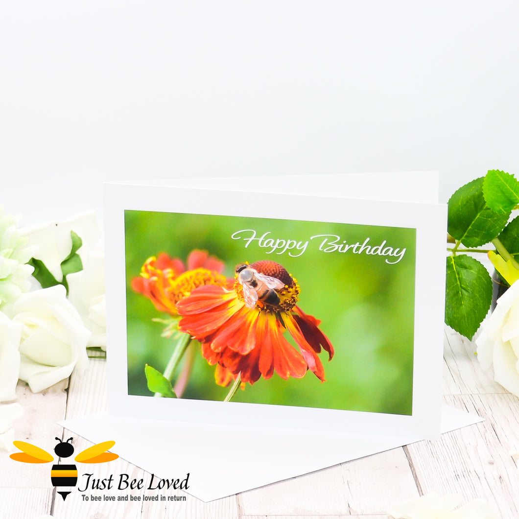 Honey bee Foraging Birthday Photographic Greeting Card by Landscape & Nature Photographer Yasmin Flemming
