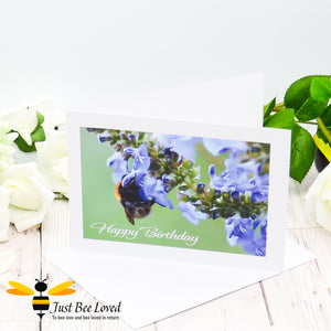 Bumblebee Foraging Happy Birthday Photographic Greeting Card by Landscape & Nature Photographer Yasmin Flemming