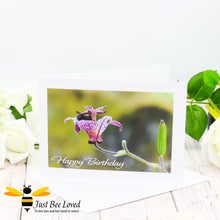 Load image into Gallery viewer, Bumblebee inside Flower Cup Birthday photographic Greeting Card by Landscape & Nature Photographer Yasmin Flemming