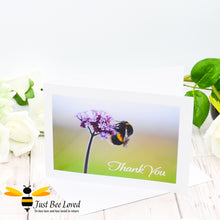 Load image into Gallery viewer, Just Bee Loved Bee & Verbena Portrait - Thank You Photographic Greeting Card by Landscape & Nature Photographer Yasmin Flemming