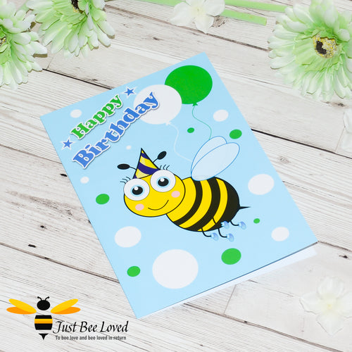 Just Bee Loved Little Bee Happy Birthday Greeting Card for Boy with Bee illustration by Artist Yasmin Flemming