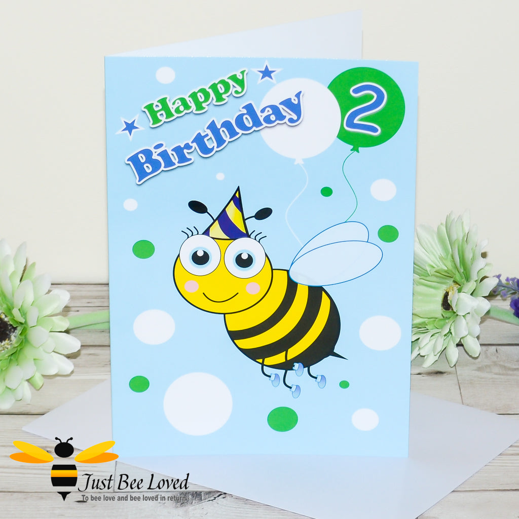 Just Bee Loved Little Bee Age 2 Birthday Card for Boy with bee illustration by Artist Yasmin Flemming