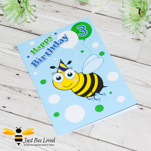 Just Bee Loved Little Bee Age 3 Birthday Card for Boy with bee illustration by Artist Yasmin Flemming