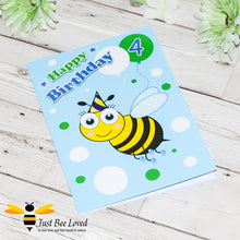 Load image into Gallery viewer, Just Bee Loved Little Bee Age 4 Birthday Card for Boy with bee illustration by Artist Yasmin Flemming