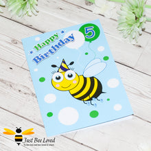 Load image into Gallery viewer, Just Bee Loved Little Bee Age 5 Birthday Card for Boy with bee illustration by Artist Yasmin Flemming
