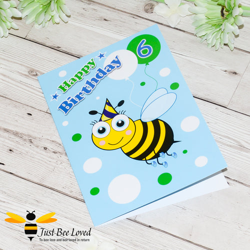 Just Bee Loved Little Bee Age 6 Birthday Card for Boy with bee illustration by Artist Yasmin Flemming