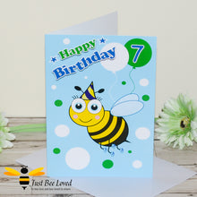 Load image into Gallery viewer, Just Bee Loved Little Bee Age 7 Birthday Card for Boy with bee illustration by Artist Yasmin Flemming