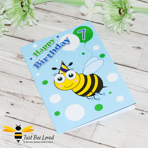 Just Bee Loved Little Bee Age 7 Birthday Card for Boy with bee illustration by Artist Yasmin Flemming