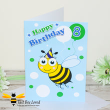 Load image into Gallery viewer, Just Bee Loved Little Bee Age 8 Birthday Card for Boy with bee illustration by Artist Yasmin Flemming