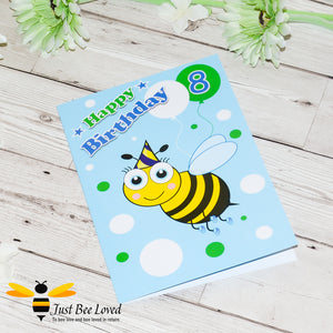 Just Bee Loved Little Bee Age 8 Birthday Card for Boy with bee illustration by Artist Yasmin Flemming