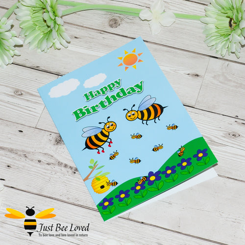 Just Bee Loved Little Bee Happy Birthday Greeting Card with bee family illustration by Artist Yasmin Flemming