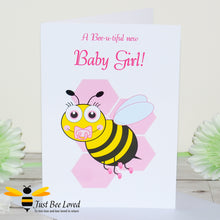 Load image into Gallery viewer, Just Bee Loved Little Bee New Baby Girl Greeting Card featuring a cute baby bumble bee with a dummy design by Artist Yasmin Flemming