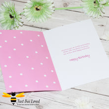 Load image into Gallery viewer, Just Bee Loved Little Bee Happy Birthday Greeting card for Girl featuring bumble bee with a party hat and balloons design by Artist Yasmin Flemming