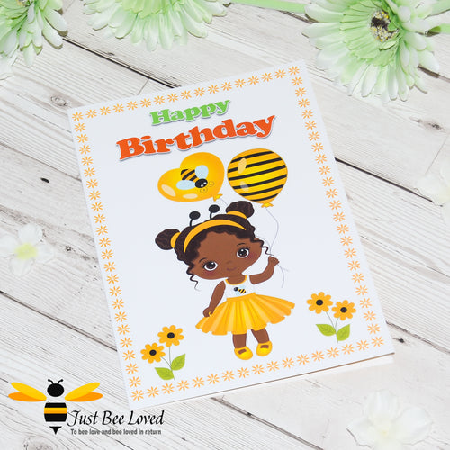 Just Bee Loved Little Bee Happy Birthday Greeting Card for Girl dressed as a bee holding bee balloons