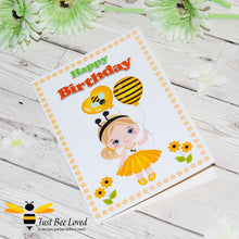 Load image into Gallery viewer, Just Bee Loved Little Bee Happy Birthday Greeting Card for girl with girl dressed as a bee and holding bee balloons illustration