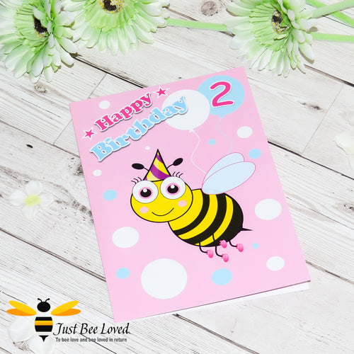 Just Bee Loved Little Bee Age 2 Birthday Greeting Card for Girl with bee illustration by Artist Yasmin Flemming