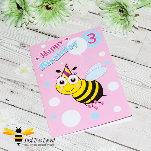 Just Bee Loved Little Bee Age 3 Birthday Greeting Card for Girl with bee illustration by Artist Yasmin Flemming