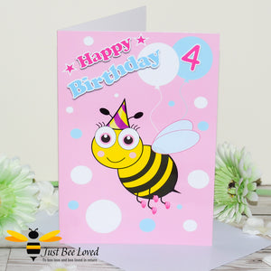 Just Bee Loved Little Bee Age 4 Birthday Greeting Card for Girl with bee illustration by Artist Yasmin Flemming
