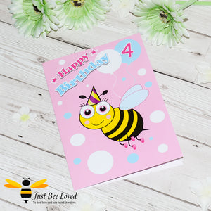 Just Bee Loved Little Bee Age 4th Birthday Greeting Card for Girl with bee illustration by Artist Yasmin Flemming