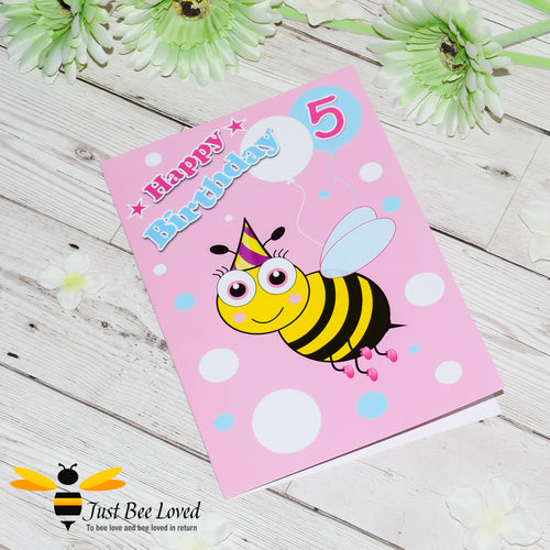 Just Bee Loved Little Bee Age 5 Birthday Greeting Card for Girl with bee illustration by Artist Yasmin Flemming