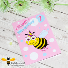 Load image into Gallery viewer, Just Bee Loved Little Bee Age 7 Birthday Greeting Card for Girl with bee illustration by Artist Yasmin Flemming