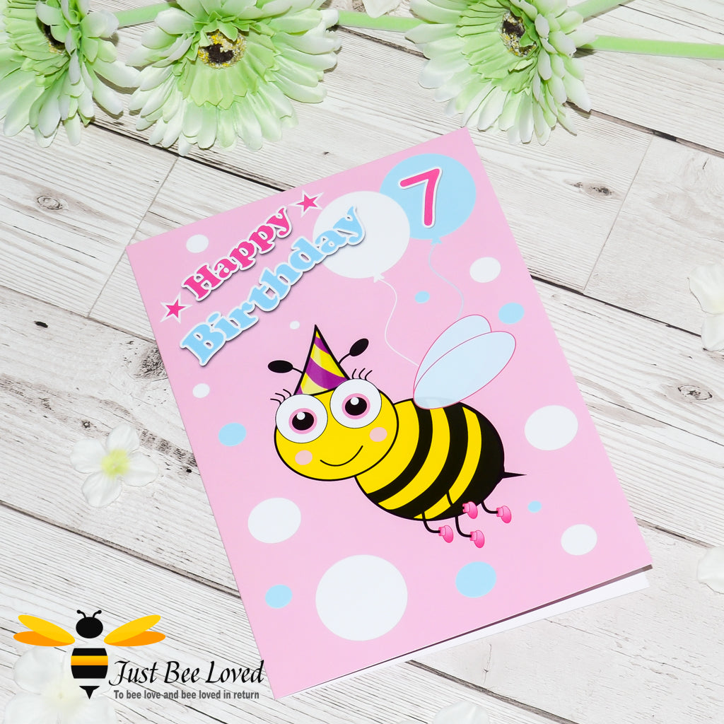 Just Bee Loved Little Bee Age 7 Birthday Greeting Card for Girl with bee illustration by Artist Yasmin Flemming