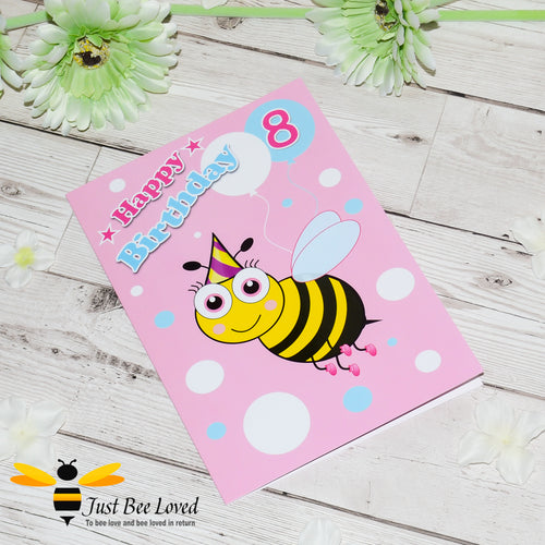 Just Bee Loved Little Bee Age 8 Birthday Greeting Card for Girl with bee illustration by Artist Yasmin Flemming