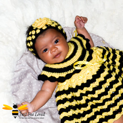 Just Bee Loved hand crocheted bee inspired 3 piece dress with matching headband and booties for baby girl