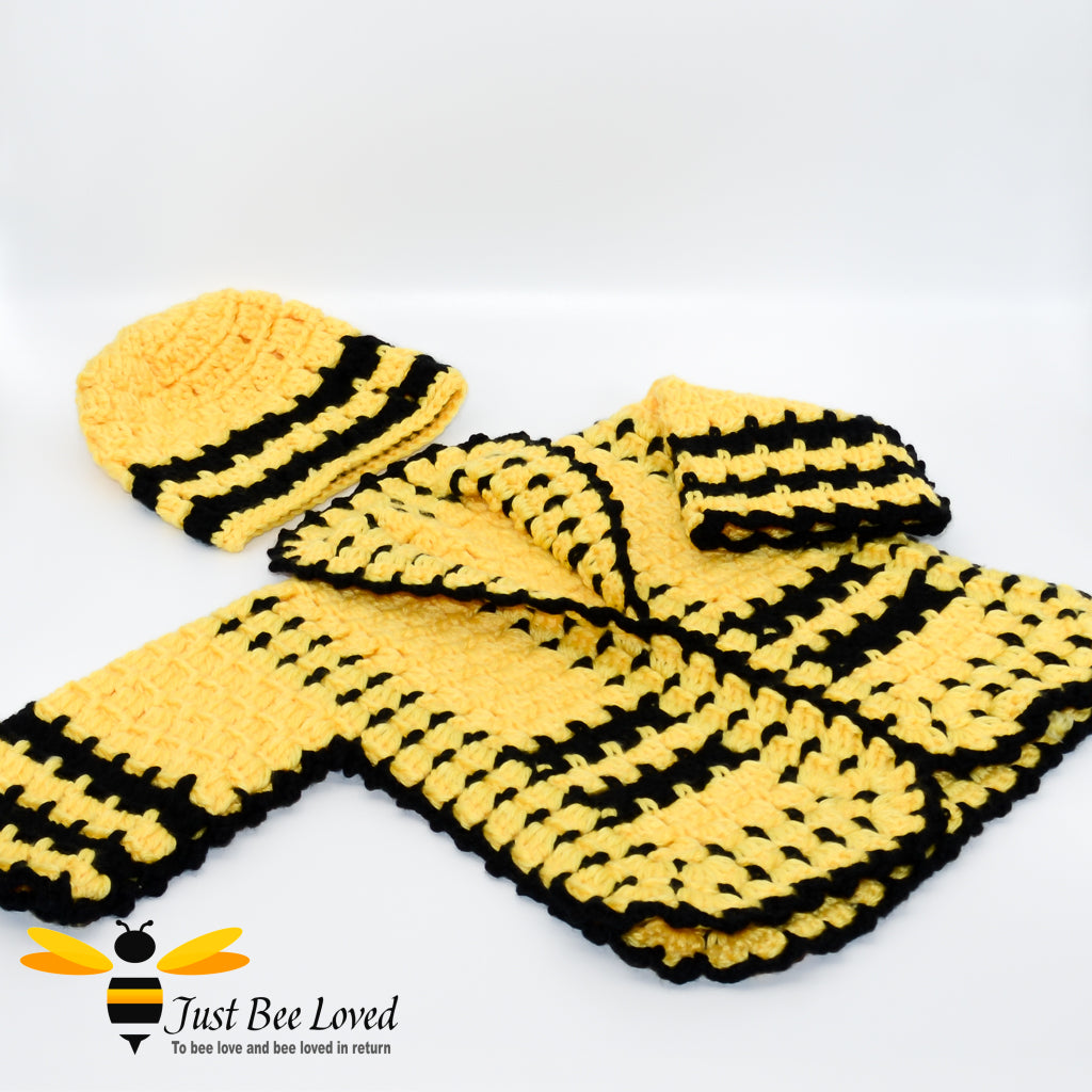 Just Bee Loved Hand crocheted Baby Boy Blazer Cardigan and Hat Set in black and yellow wool design