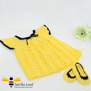 Hand crocheted smocked styled baby girl  bee dress with matching moccasins in yellow and black