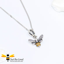 Load image into Gallery viewer, Sterling Silver 925 Necklace with sterling silver bee pendant encrusted with white and orange cubic zirconia