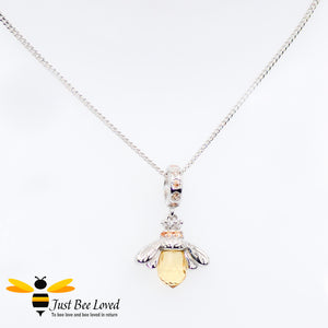 Sterling Silver 925 Honey Bee Pendant Necklace