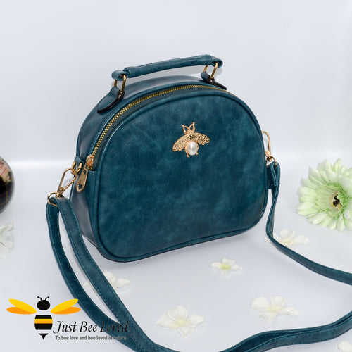 Just Bee Loved PU Leather Crossbody Handbags with gold bee and pearl embellishment in teal colour