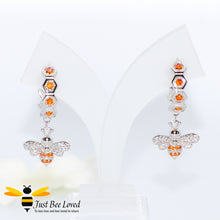 Load image into Gallery viewer, Sterling Silver 925 Honeycomb and Bee hoop drop earrings with orange and white zirconia