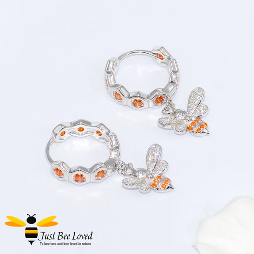 Sterling Silver 925 Honeycomb and Bee hoop drop earrings with orange and white zirconia