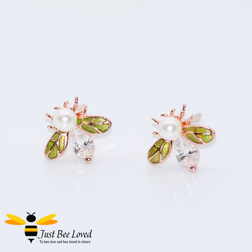 Sterling silver 925 bee studs with pearls, white zirconia green enamelled wings rose gold plated