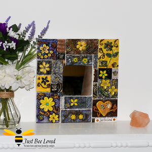 Just Bee Loved Handmade Mosaic Clay Mirror decorated with Bees Flowers and Crystals
