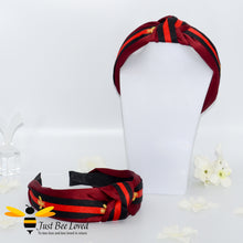 Load image into Gallery viewer, Ladies Knot twist headband with embroidered bees in burgundy colour with black stripe